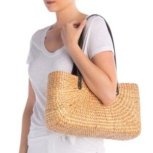 Sea & Grass | Sara Faux Leather Strap Straw Tote